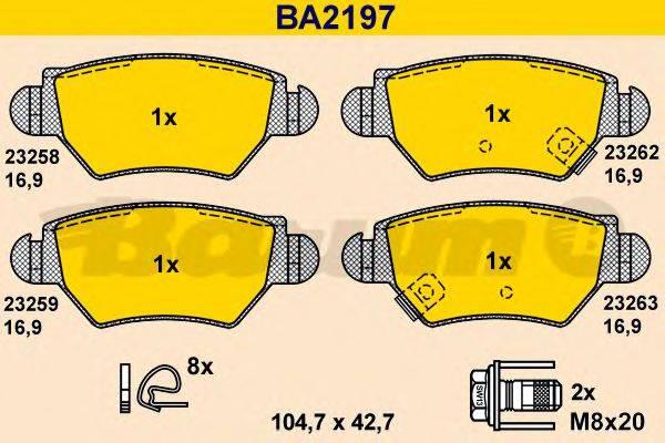 BARUM BA2197 Комплект тормозных колодок, дисковый тормоз