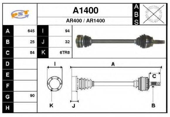 SNRA A1400 Приводной вал