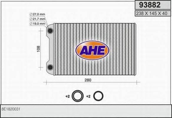 AHE 93882 Теплообменник, отопление салона