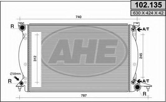 AHE 102135 Радиатор, охлаждение двигателя