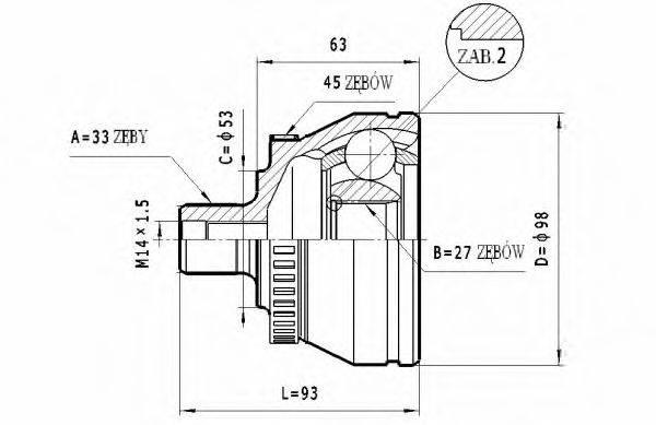 STATIM C322 Шарнирный комплект, приводной вал