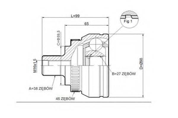 STATIM C292 Шарнирный комплект, приводной вал