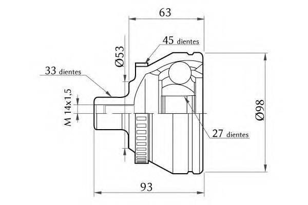 KSM-KOSHIMO 18600068008 Шарнирный комплект, приводной вал