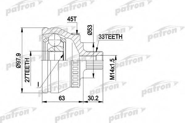 PATRON PCV1381 Шарнирный комплект, приводной вал