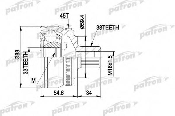 PATRON PCV1435 Шарнирный комплект, приводной вал