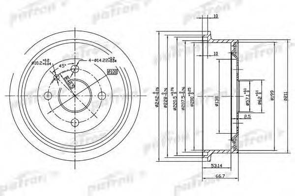PATRON PDR1119 Тормозной барабан