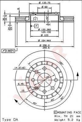 VILLAR 6280495 Тормозной диск