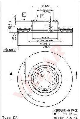 VILLAR 6281034 Тормозной диск