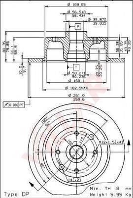 VILLAR 6281041 Тормозной диск