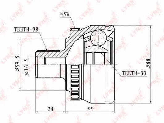 LYNXAUTO CO1203A Шарнирный комплект, приводной вал