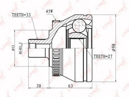 LYNXAUTO CO1222A Шарнирный комплект, приводной вал