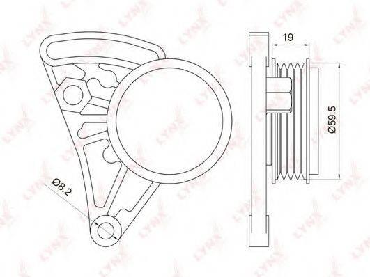 LYNXAUTO PB5037 Натяжной ролик, поликлиновой  ремень