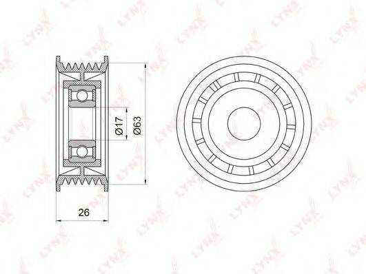 LYNXAUTO PB7001 Паразитный / ведущий ролик, поликлиновой ремень