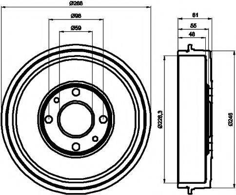HELLA PAGID 8DT355300071 Тормозной барабан