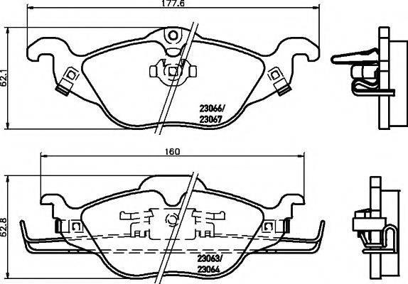 HELLA PAGID 8DB355008571 Комплект тормозных колодок, дисковый тормоз
