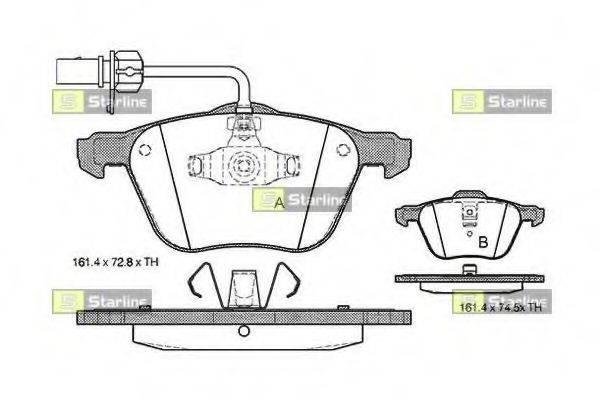 STARLINE BDS312 Комплект тормозных колодок, дисковый тормоз