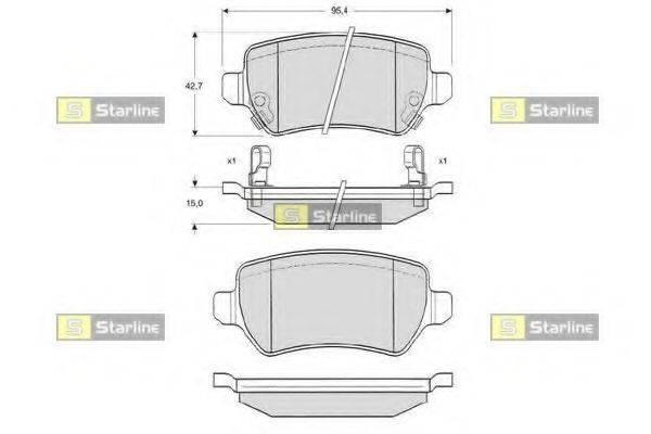 STARLINE BDS320P Комплект тормозных колодок, дисковый тормоз