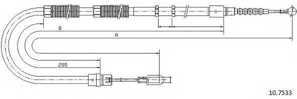 CABOR 107533 Трос, стояночная тормозная система