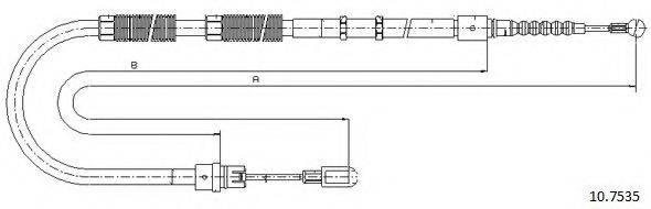 CABOR 107535 Трос, стояночная тормозная система