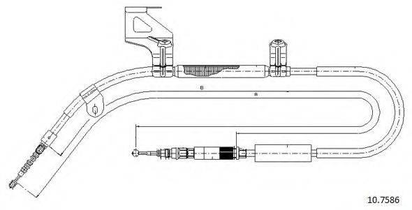 CABOR 107586 Трос, стояночная тормозная система