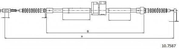 CABOR 107587 Трос, стояночная тормозная система