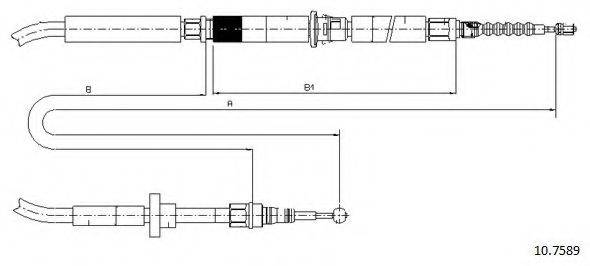 CABOR 107589 Трос, стояночная тормозная система