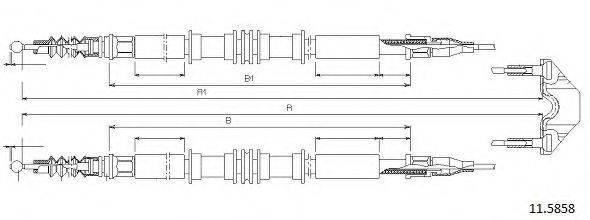 CABOR 115858 Трос, стояночная тормозная система