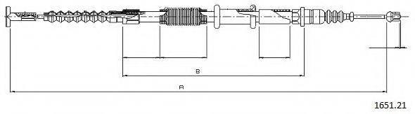 CABOR 165121 Трос, стояночная тормозная система