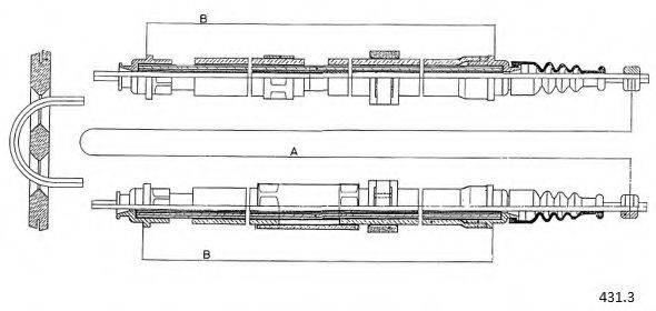 CABOR 4313 Трос, стояночная тормозная система