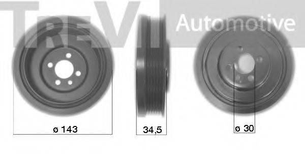 TREVI AUTOMOTIVE PC1036 Ременный шкив, коленчатый вал