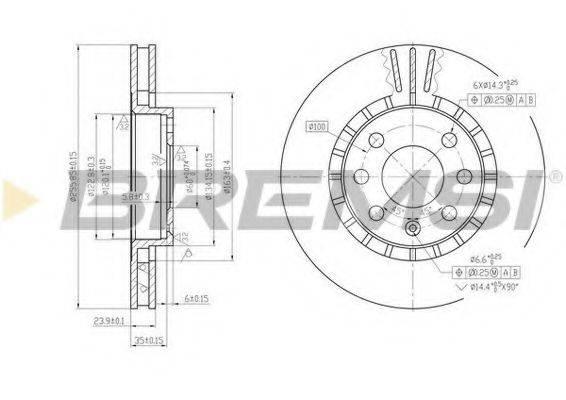 BREMSI DBA206V Тормозной диск