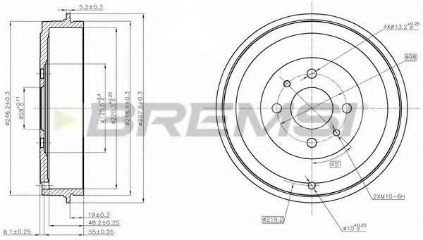 BREMSI DR5267 Тормозной барабан