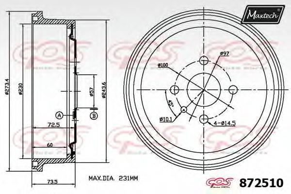 MAXTECH 8725100000 Тормозной барабан