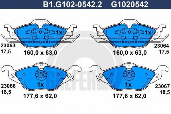 GALFER B1G10205422 Комплект тормозных колодок, дисковый тормоз