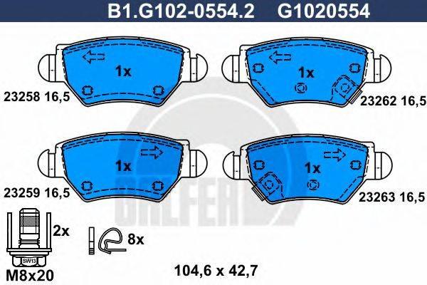 GALFER B1G10205542 Комплект тормозных колодок, дисковый тормоз