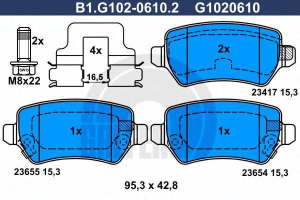 GALFER B1G10206102 Комплект тормозных колодок, дисковый тормоз