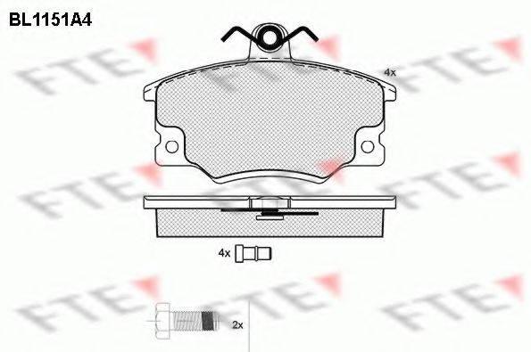 FTE BL1151A4 Комплект тормозных колодок, дисковый тормоз