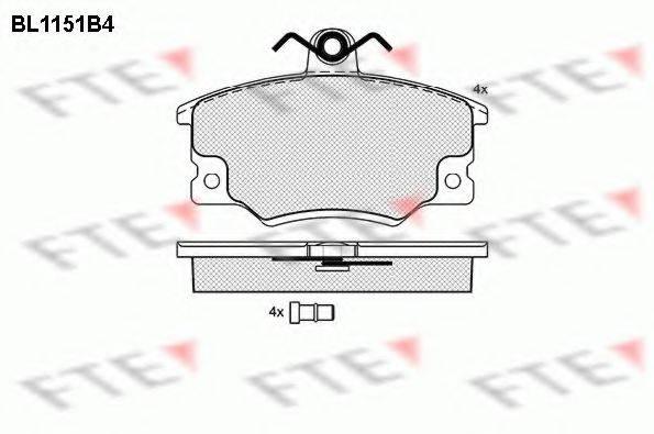 FTE BL1151B4 Комплект тормозных колодок, дисковый тормоз