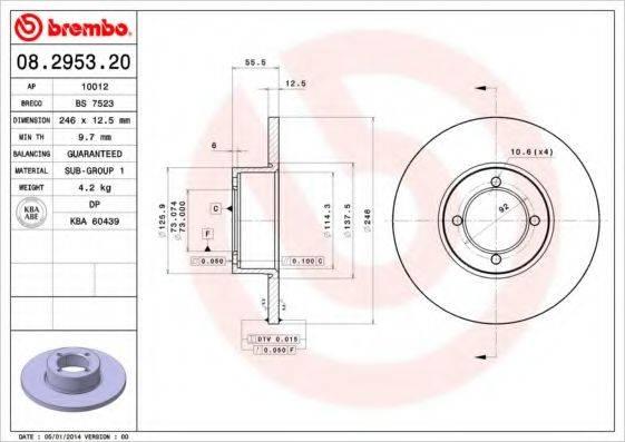 BREMBO 08295320 Тормозной диск