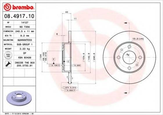 BREMBO 08491710 Тормозной диск