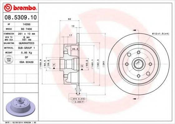 BREMBO 08530910 Тормозной диск
