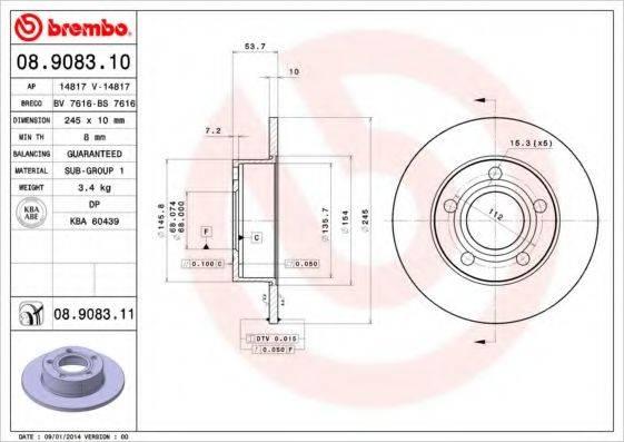 BREMBO 08908310 Тормозной диск