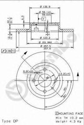 BREMBO 08962114 Тормозной диск
