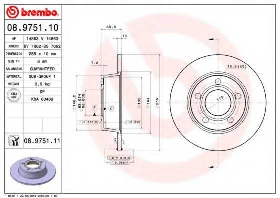 BREMBO 08975110 Тормозной диск