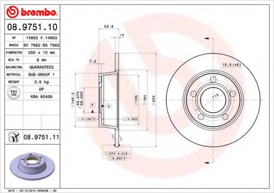 BREMBO 08975111 Тормозной диск