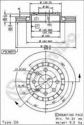 BREMBO 09514824 Тормозной диск