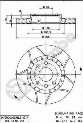 BREMBO 09514876 Тормозной диск