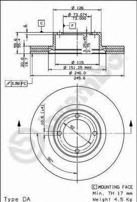 BREMBO 09561910 Тормозной диск