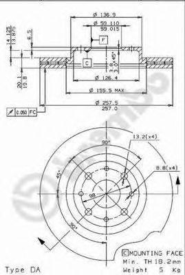 BREMBO 09963114 Тормозной диск