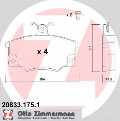 ZIMMERMANN 208331751 Комплект тормозных колодок, дисковый тормоз